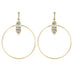 Large Gold Front-Facing Moonstone and Diamond Hoops