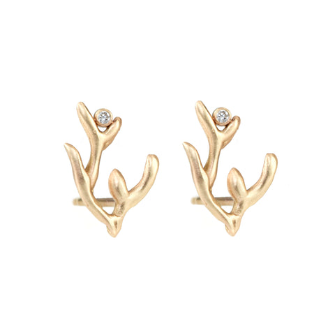"Gold ""Coral Branch"" Stud Earrings with Diamonds"