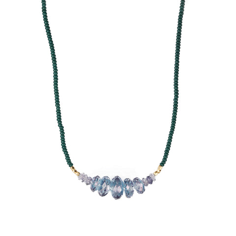 Debbie Fisher Dark Green Seed Bead Necklace with Graduated Blue Quartz