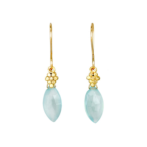 Calcite Drop Earrings with Gold Vermeil Charm Detail