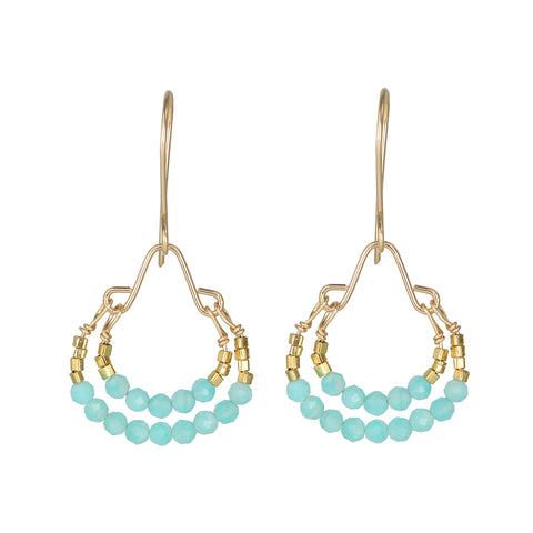 "Debbie Fisher Amazonite and Gold Beaded ""Double Hoop"" Earrings"