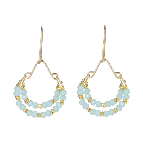 "Debbie Fisher Large Gold Vermeil and Light Blue Quartz Beaded ""Double Hoop"" Earrings"