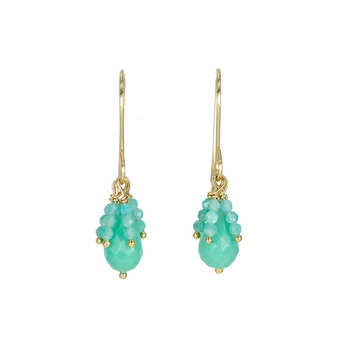 Debbie Fisher Chrysoprase Drop Earrings with Amazonite Beaded Fringe