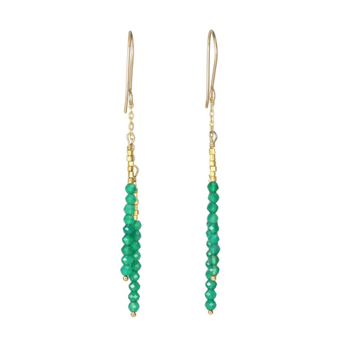 "Debbie Fisher Gold Vermeil and Green Onyx Beaded Long ""Stick"" Earrings"