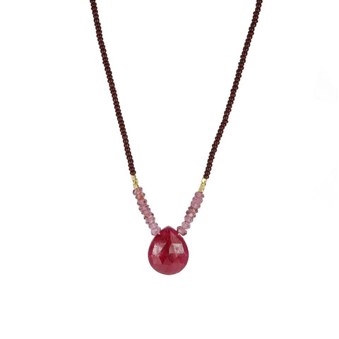 Debbie Fisher Wine Seed Bead Necklace with Ruby Teardrop