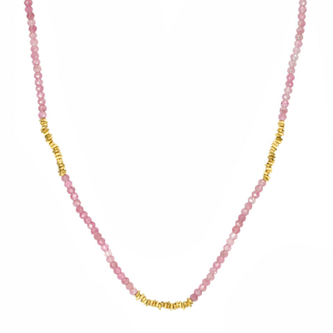 Pink Tourmaline and Gold Vermeil Station Necklace