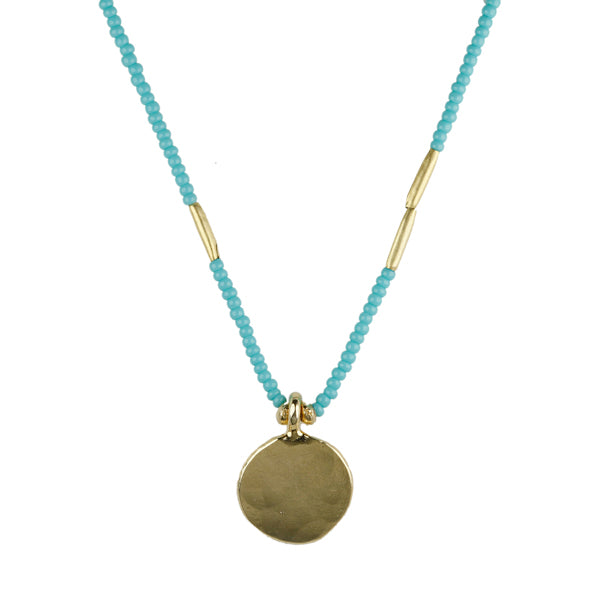 Turquoise Beaded Necklace with Hammered Pendant