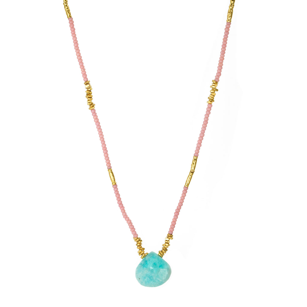 Pink Seed and Gold Vermeil Necklace with Amazonite Drop