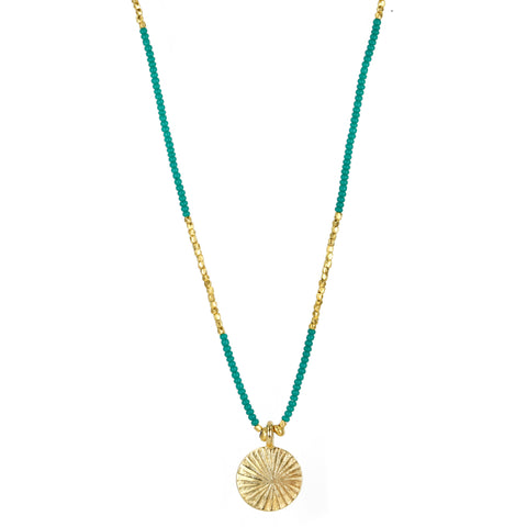 Jade Seed and Gold Vermeil Necklace with Etched Gold Disk