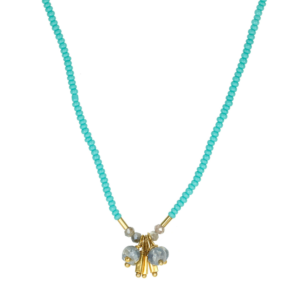 "Debbie Fisher Turquoise Seed Beaded Necklace with Silverite and Gold Vermeil ""Tassel"""