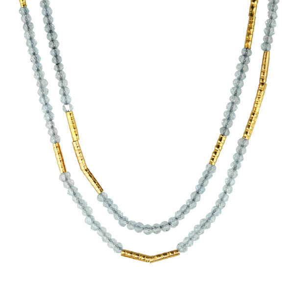 Light Blue Topaz and Gold Vermeil Station Necklace