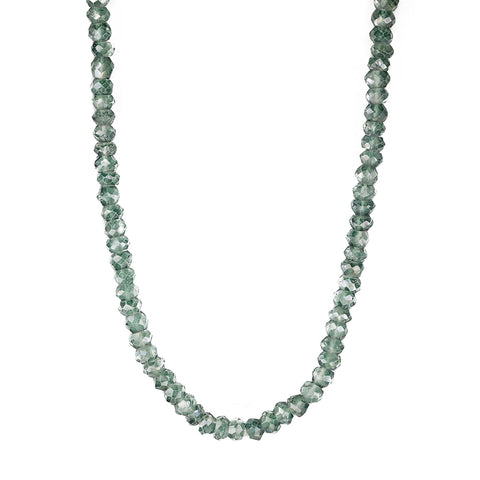 Long Grey Seed Bead and Green Mystic Quartz Necklace