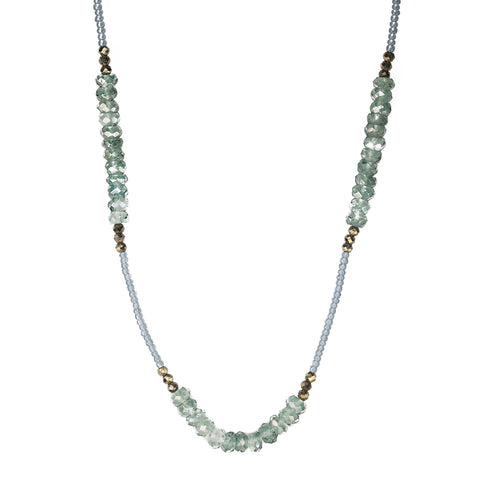 Debbie Fisher Grey Seed & Green Quartz Beaded Station Necklace with Pyrite Details