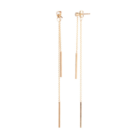 Gold and Diamond Long Chain Earrings