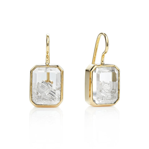 "Moritz Glik Gold Rectangular Diamond ""Shake"" Earrings"