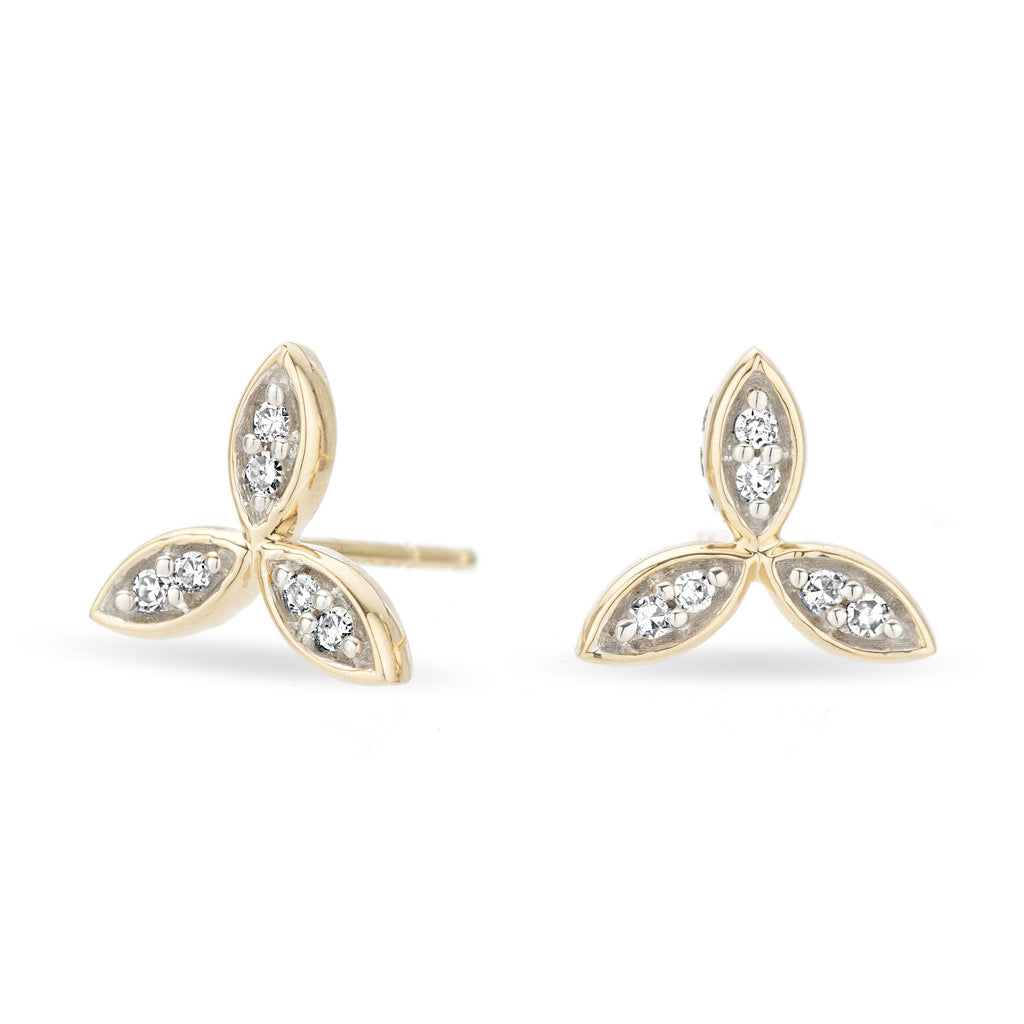 Adina Reyter Gold and Pave Diamond Triple Marquise Flower Stud Earrings