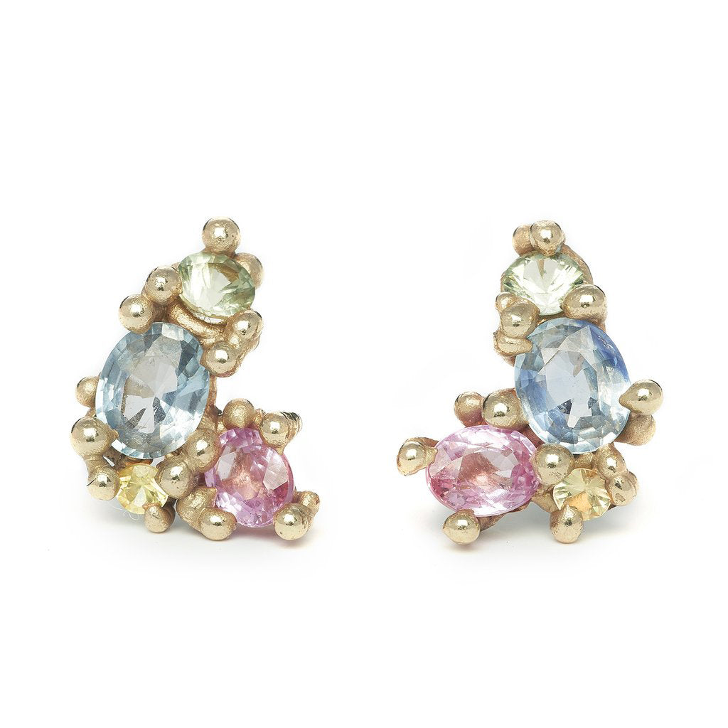 Gold and Multi Colored Sapphire Cluster Stud Earrings