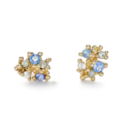 Ruth Tomlinson Mixed Light and Dark Blue Sapphire Cluster Studs