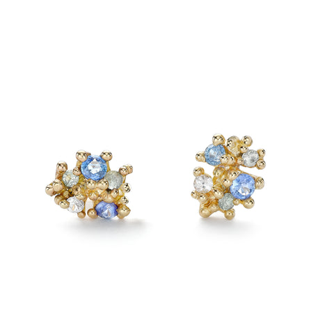 Mixed Light and Dark Blue Sapphire Cluster Studs