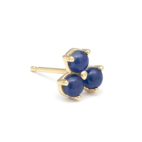 "Gold and Blue Sapphire ""Trillium"" Stud Earring"