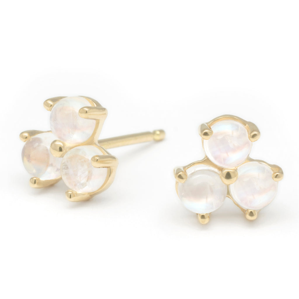 "Gold and Moonstone ""Trillium"" Stud Earrings"