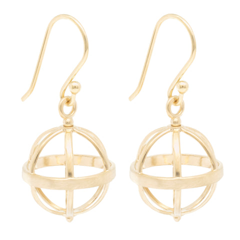 "Gold Open ""Cage"" Earrings"
