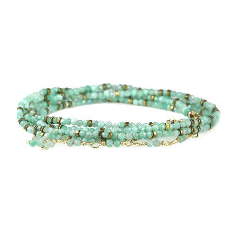 "Anne Sportun Opaque Emerald & Pyrite ""Confetti"" Beaded Wrap Bracelet"