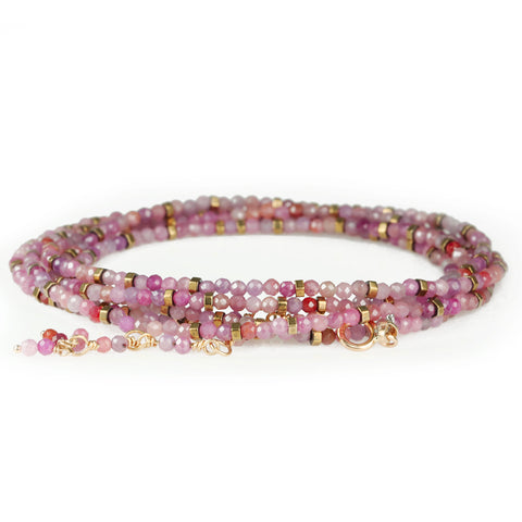 "Multi Pink Ruby Beaded ""Confetti"" Wrap Bracelet"