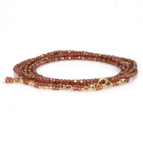 "Red Garnet Beaded ""Confetti"" Wrap Bracelet"