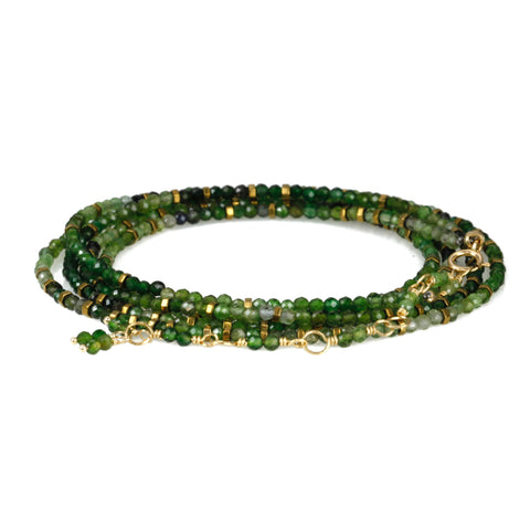 "Green Tourmaline and Pyrite ""Confetti"" Wrap Bracelet"