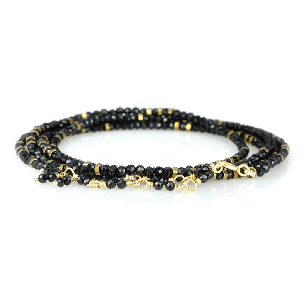 "Anne Sportun Black Spinel and Square Pyrite ""Confetti"" Wrap Bracelet"