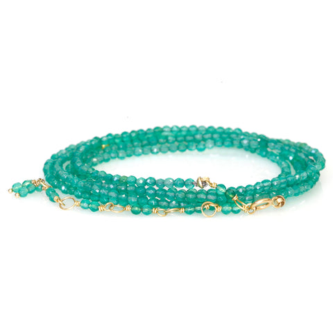 Faceted Green Onyx Wrap Bracelet