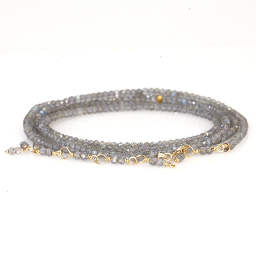 Labradorite Beaded Wrap Bracelet