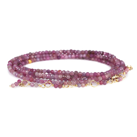Faceted Multi Pink Ruby Beaded Wrap Bracelet