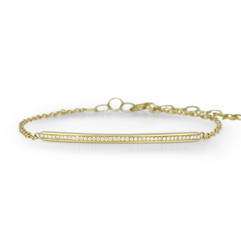 Gold and Pave Diamond Bar Bracelet