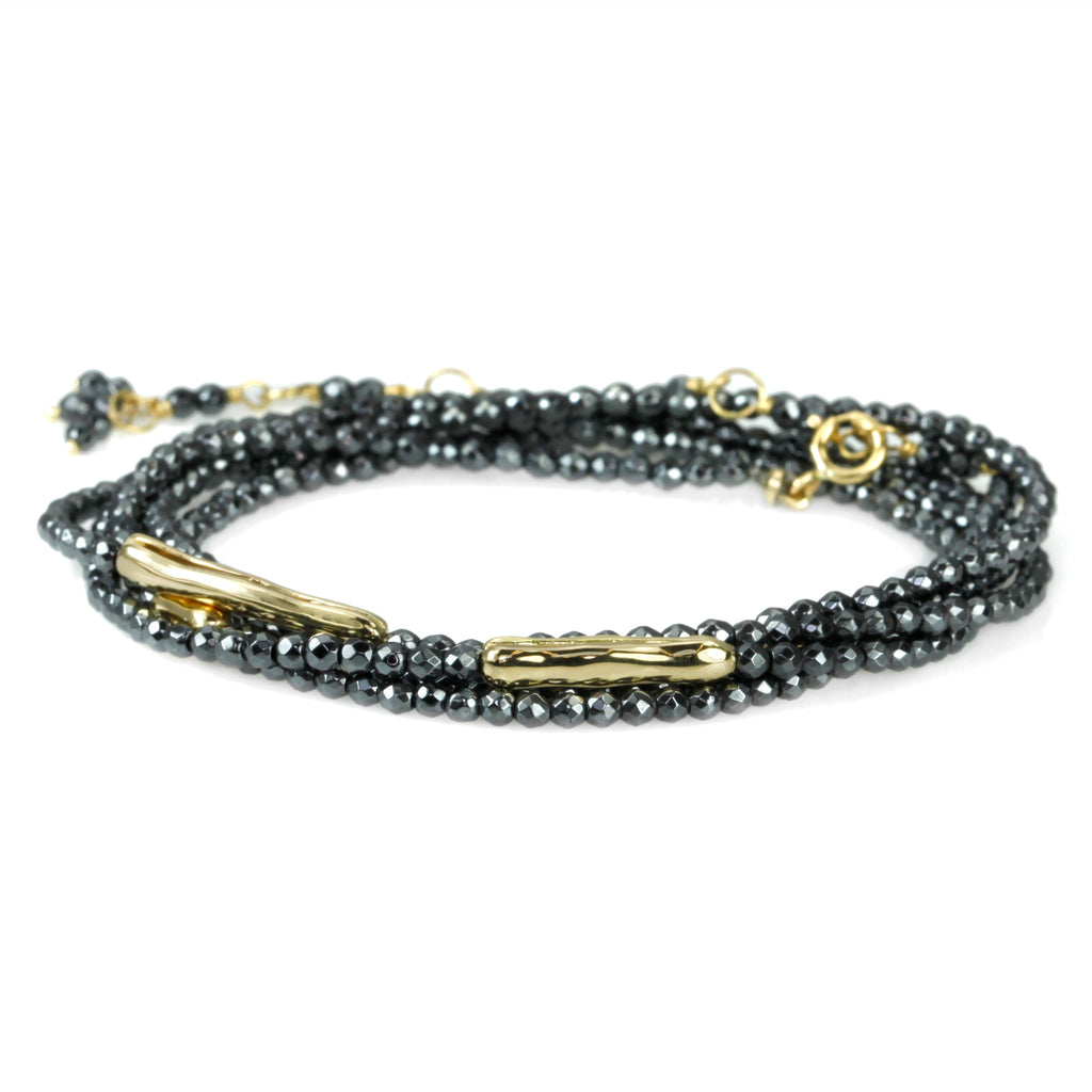 "Hematite Beaded Wrap Bracelet with ""Organic Log"" Beads"