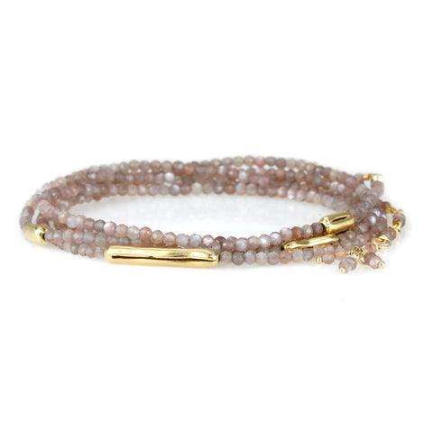 "Anne Sportun Mink Moonstone Beaded Bracelet with Five Gold ""Organic Logs"""
