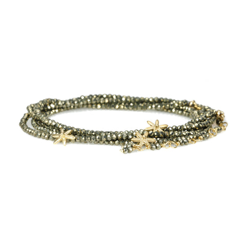 "Anne Sportun Pyrite Beaded Wrap Bracelet with Three 18 Karat Yellow Gold ""Star"" Beads, Clasp, and Tied Tassel Extension."