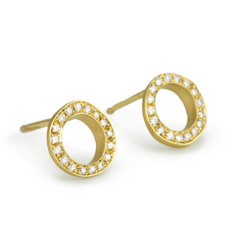 "18 Karat Yellow Gold ""Lilydust"" Organic Circle Post Earrings"
