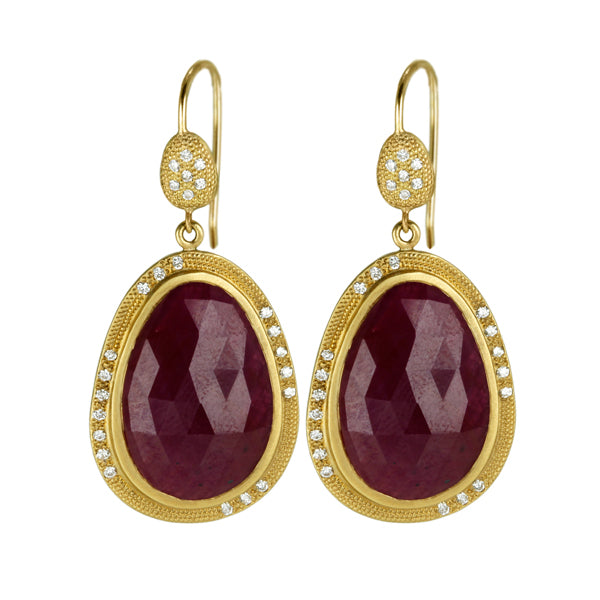 Gold and Ruby Earrings with Pave Diamonds