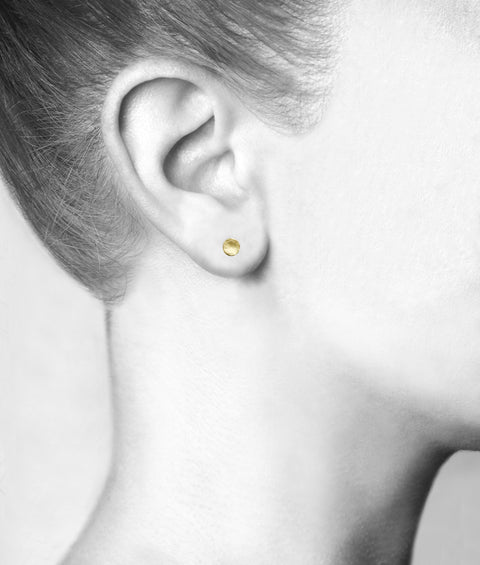"Gold Small Round Hammered ""Disc"" Stud Earrings"