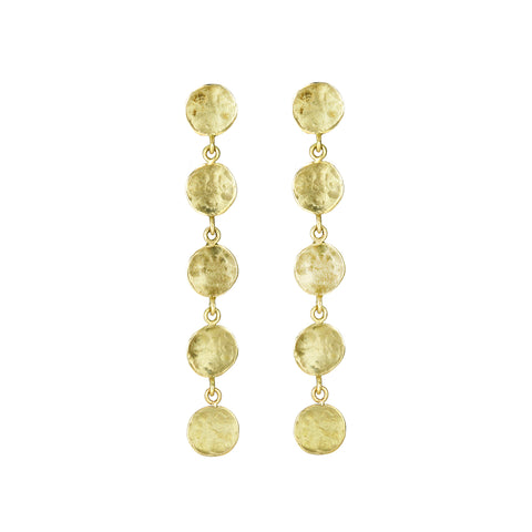 "Anne Sportun Gold ""Hammered Disc"" Post Earrings"