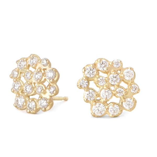 "Gold and Diamond ""Festival"" Cluster Earrings"
