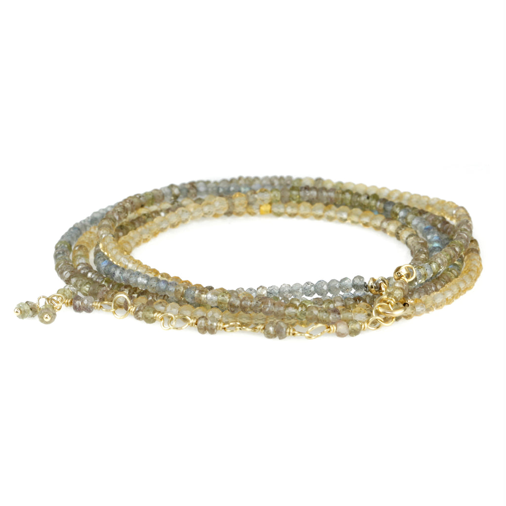 "Beaded Ombre ""Golden"" Wrap Bracelet with Labradorite, Champagne Garnet, and Citrine"