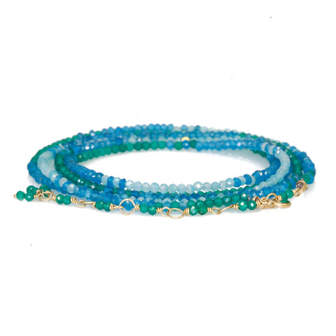 "Faceted Green Onyx, Apatite, and Amazonite ""Ombre"" Wrap Bracelet"