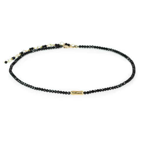 "Anne Sportun Black Spinel Beaded Choker Necklace with 18 Karat Yellow Gold ""Organic Log"" at Center."