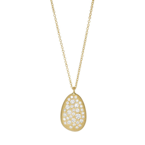 "Gold and Pave Diamond ""Petal"" Pendant Necklace"