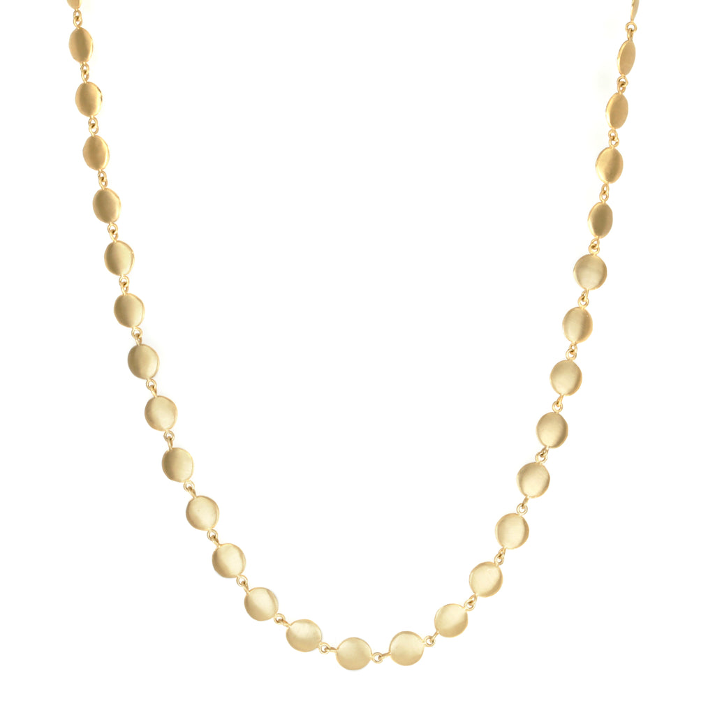 "Anne Sportun 18K Gold ""Hammered Disc"" Necklace"