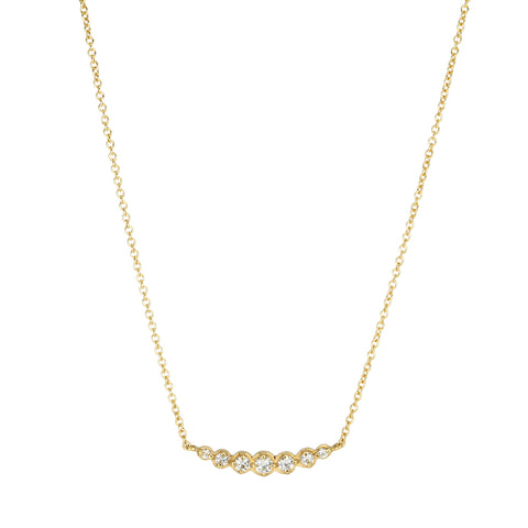 Gold and Diamond Graduated Bar Necklace
