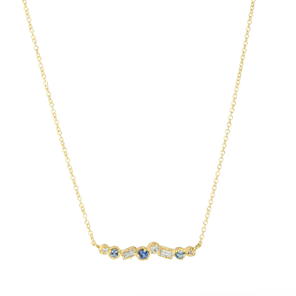 "Gold Mixed Cut Blue Sapphire and Diamond ""Festival"" Necklace"